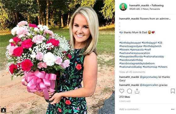 Photo of Hannah with flowers