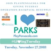 A information flyer about Operation Backpack drive on Giving Tuesday
