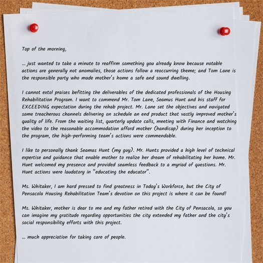 A photo of a letter
