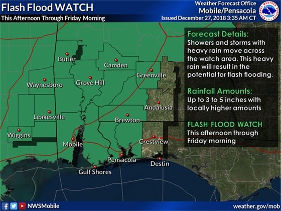 An infographic showing Pensacola in the Flash Flood Watch