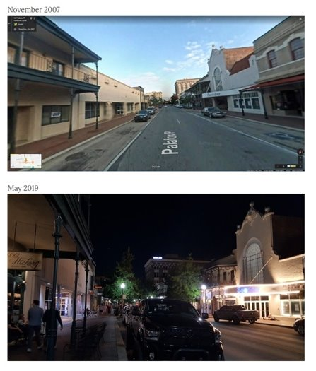 Before and after street view of Palafox Street