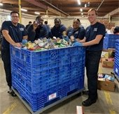 Pensacola fire department sorts canned goods