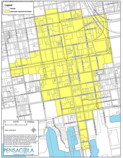 a map of downtown pensacola showing the DIB boundaries