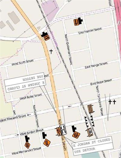 Detour map for CSX closure at Jordan Street
