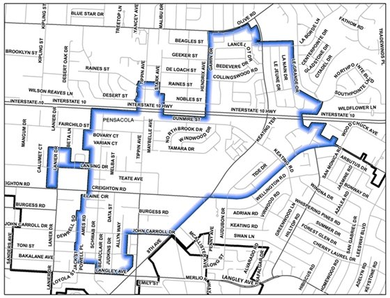 Map of section 2 of the July neighborhood cleanup area