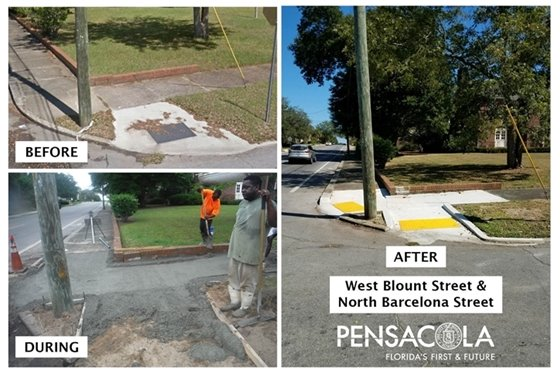 Sidewalk at west blount street and north barcelona street before, during and after repairs