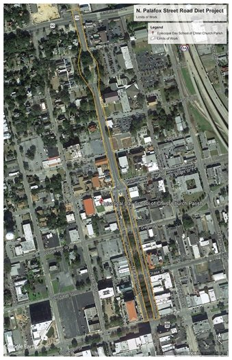 Map of North Palafox Street