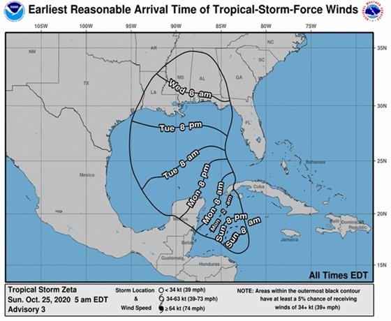 Tropical Storm Zeta wind map