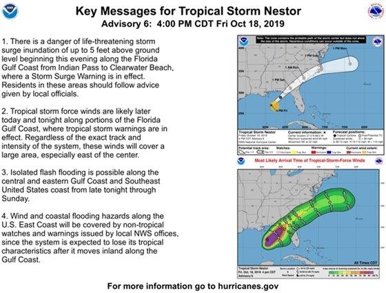 Tropical Storm Nestor track, visit nhc.noaa.gov for details