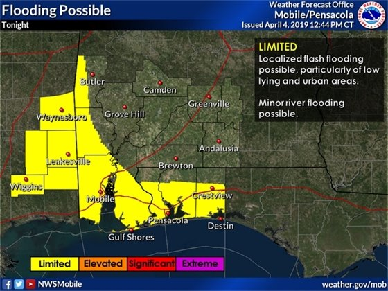 Map showing the possibility for flooding in Pensacola tonight