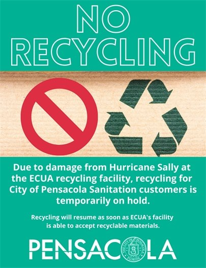 Recycling temporarily on hold in the city of pensacola
