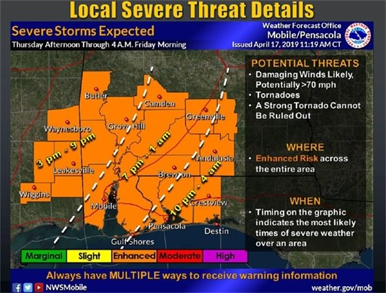 map showing area affected by severe storms