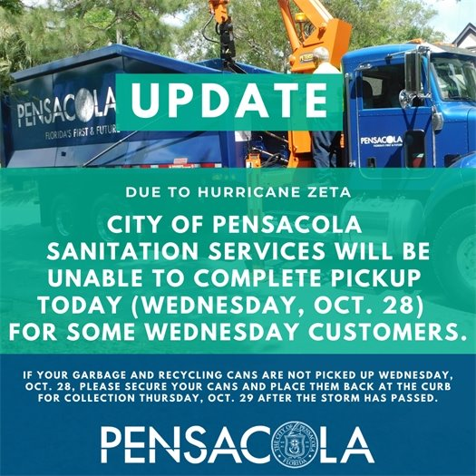 Sanitation services unable to complete wednesday pickup on oct. 28