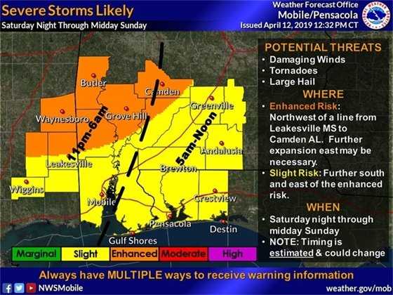 Map showing areas of weather concerns