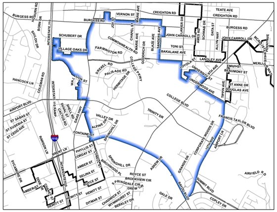 Map of section 1 of the July neighborhood cleanup area