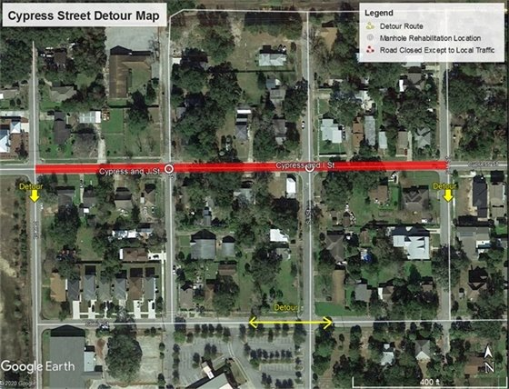 Cypress Street closure map