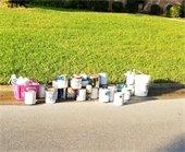 paint curbside waiting for collection