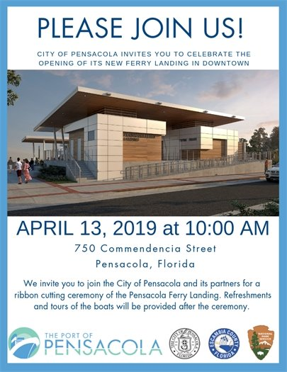 Informational flyer for the grand opening of the ferry landing on April 13