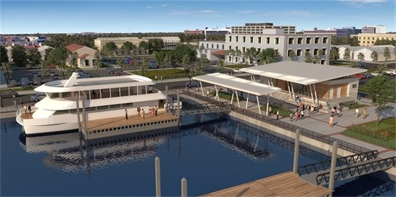 A rendering of the new dock and ferry landing terminal