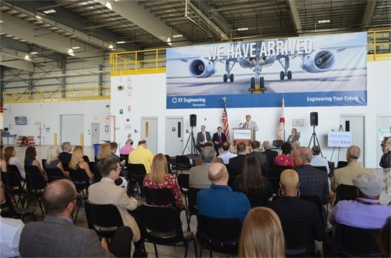 Mayor Grover Robinson speaks at ST Aerospace during the EDA grant announcement Thursday, July 18.