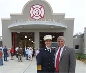 Fire Chief Ginny Cranor and Mayor Grover Robinson