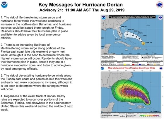 a graphic showing areas of potential impact by Hurricane Dorian