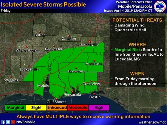 Map showing the possibility for isolated severe storms in Pensacola tomorrow