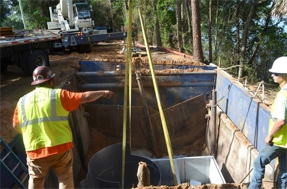 A stormwater treatment unit is installed as part of the Bayou Boulevard, Perry, Blount, and Avery Outfalls at Bayou Texar Stormwater Treatment Enhancement Project.