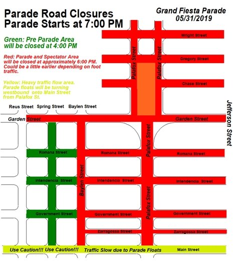 Downtown Pensacola Road Closures for Grand Fiesta Parade on escambia county street map, brownsville street map, freeport street map, nas pensacola street map, panama city beach street map, downtown pensacola churches, daytona beach street map, hotel pensacola beach fl map, navarre street map, holley by the sea street map, crestview street map, fort walton beach street map,