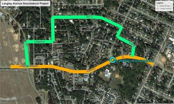 Langley Avenue detour map