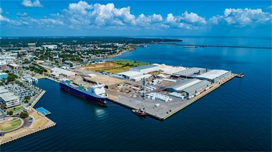 Areal view of Pensacola Port