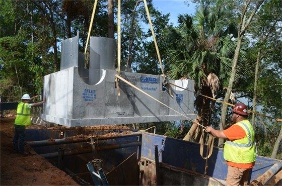 Underground stormwater treatment unit being installed