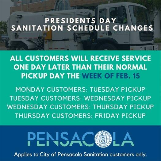 Presidents Day Sanitation Changes