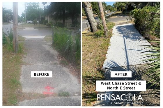 Sidewalk at west chase street and north e street before and after repairs