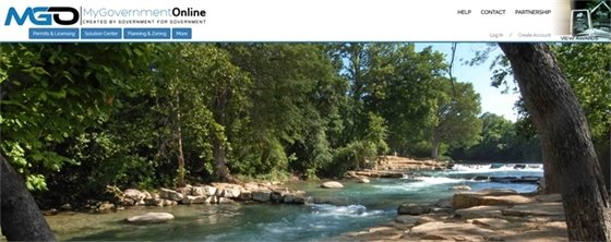 MyGovernmentOnline website with trees and stream photo