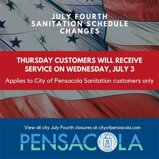 July Fourth sanitation schedule changes: Thursday customers will receive service on Wednesday, July 3