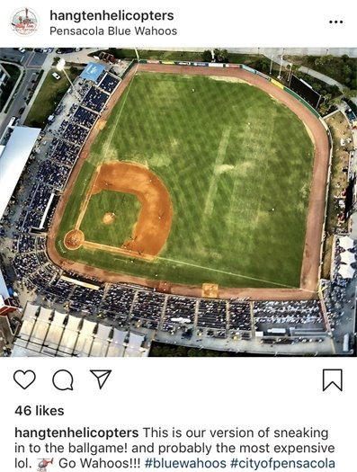 Aerial photo of Blue Wahoos baseball field