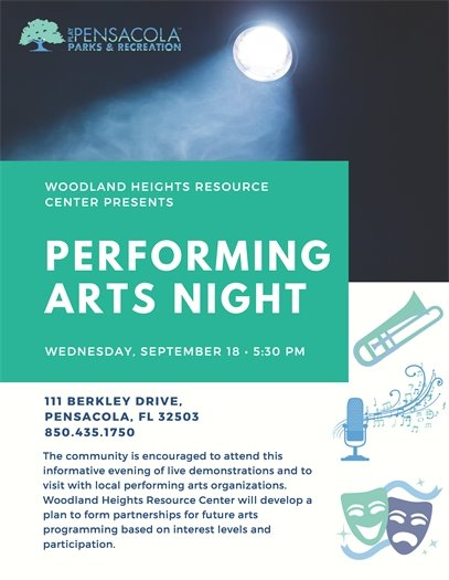 Woodland Heights Resource Center will host a Performing Arts Night Wednesday, Sept. 18 at 5:30 p.m., providing an opportunity for the public to help shape future performing arts programming at the center.