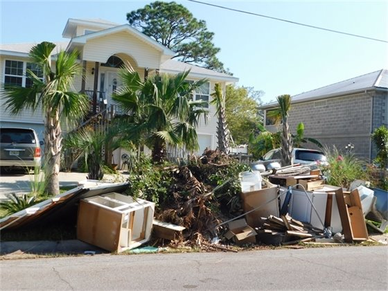 Hurricane Sally debris at the curb for collection