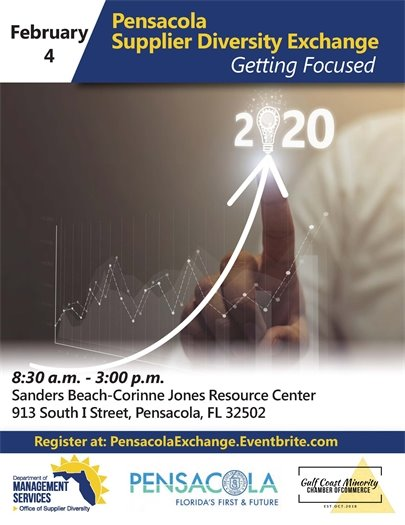 Flyer for Pensacola Supplier Diversity Exchange. More information is available at dms.myflorida.com.