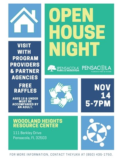 Open House Night flyer: Woodland Heights Resource Center, 111 Berkley Drive, Nov. 14, 5-7 p.m.