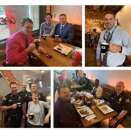 collage of people drinking coffee with police officers