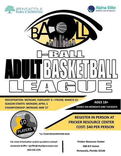 Informational flier about iBall basketball league