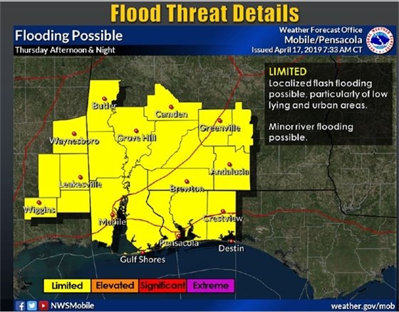 map showing areas affected by flood threat