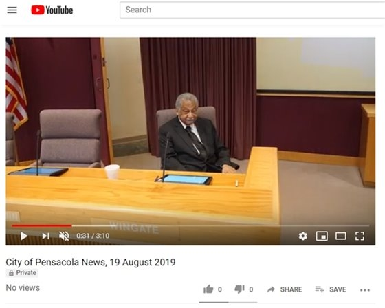 screenshot of youtube showing councilman wingate at his seat