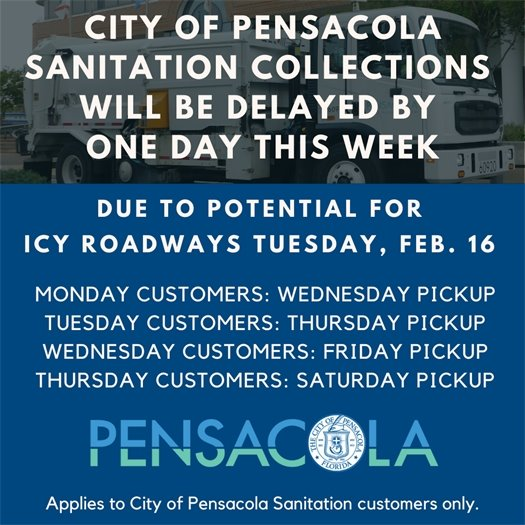 City sanitation collections delayed by one day the week of Feb. 15
