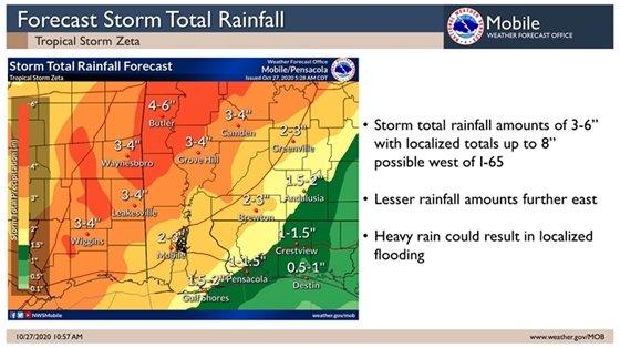 Zeta rainfall amounts