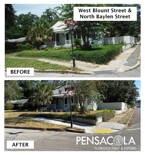 Sidewalk at west blount street and north baylen street before and after repairs