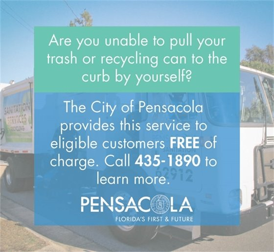 Graphic showing the City of Pensacola provides service for trash cans to get curbside