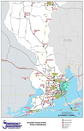 Distribution sites map